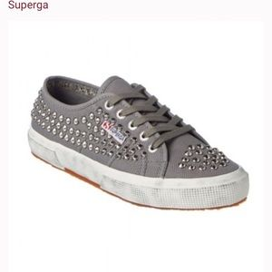 NEW Grey studded supergas slight distressing NWOB